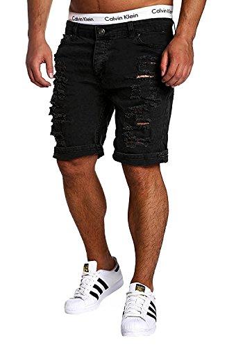 Minetom elasticizzati da uomo strappati jeans spiaggia pantaloni corti bermuda pantaloncini sguardo distrutto patchato stile nero eu l