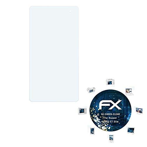 Huawei IDEOS S7 Slim Folie - 2 x atFoliX FX-Shock-Clear stoßabsorbierende ultraklare Panzerfolie Displayschutzfolie