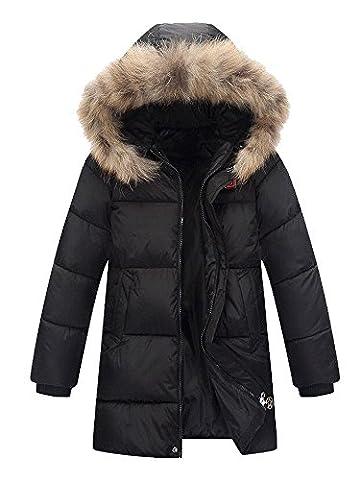 Garçon Manteau D'hiver Neige Capuche Fourrure Doudoune Zip Jacket Parka Outdoor Noir Taille 140 cm -(9-10 ans)