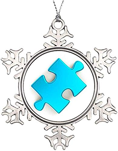 , Metal Snowflake Ornament, Xmas Trees Decorated 3D Puzzle Piece Metallic Light Blue Small Christmas Snowflake Ornaments Keepsake Gift ()