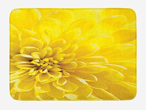 Goodshope gelbe Badematte, lebendige Blüte, Nahaufnahme Braut-Bild für Sommer, Hausdruck, rutschfeste Matte für Badezimmer, 24 W x 16 L, Gelb