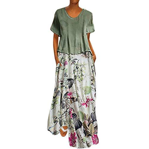 JIUZHOU Vintage Maxikleider Damen Große Größen Patchwork O-Neck Zweiteiler Taschen Maxi Kleid Casual Lose Tops Kleider 2 Stücke Set(M, Grün)
