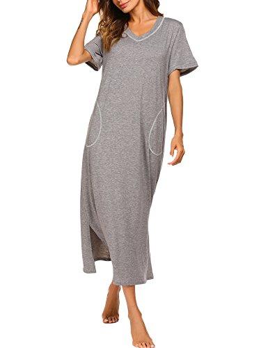 Damen Nachthemd Baumwolle Still Pyjama Lang Weich Frauen Schlafkleid V-Ausschnitt Nachtkleid Sommer