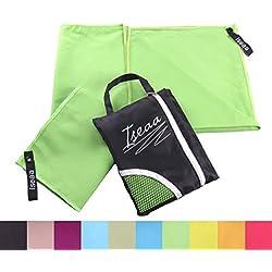2 Pezzi Asciugamano in Microfibra ultra compatto assorbente asciugatura rapida ideale pet sport yoga viaggi Piscina Pilates Palestra nuoto + borsa da viaggo 120x60cm + 30x50cm in Verde
