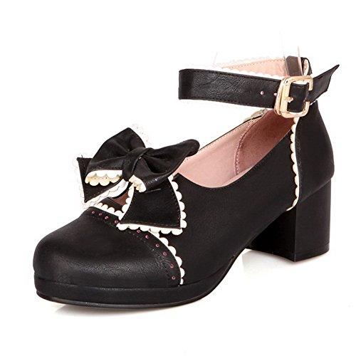 VogueZone009 Femme Pu Cuir Couleurs Mélangées Boucle Fermeture D'Orteil à Talon Correct Chaussures Légeres Noir
