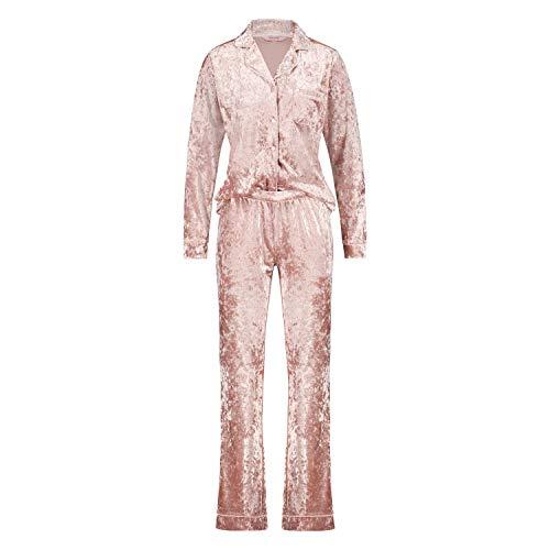 HUNKEMÖLLER Damen Boyfriend Pyjamas Crushed Velours Rose M