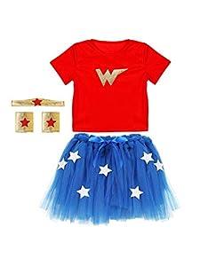 WIDMANN Srl disfraz Wonder elástico, Camiseta Tutu tocado pulseras para niña Set disfraces, Multicolor, wdm96548
