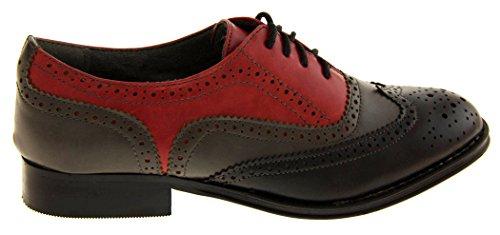 Odeon Faux Cuir à Lacets Chaussures Richelieu Femmes Rouge - rouge