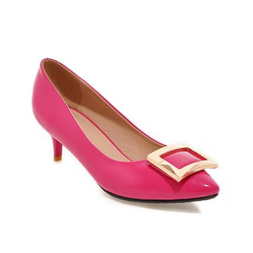 Odomolor Damen Mittler Absatz Pu Leder Eingelegt Spitz Zehe Pumps Schuhe, Rosa, 38