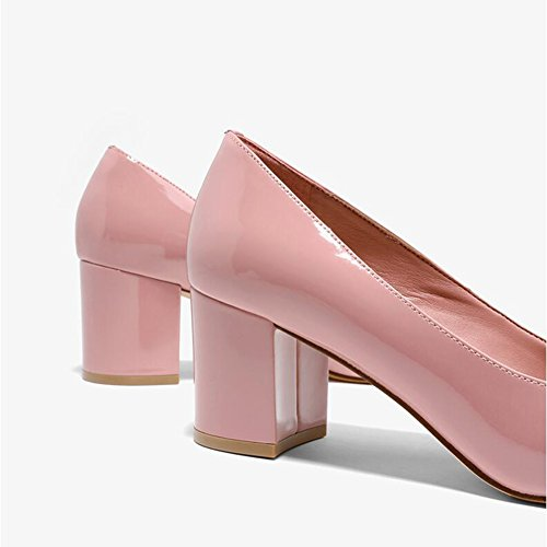 WYYY Scarpe Da Donna Tacchi Alti Faccia Luminosa Grezzo Con Bocca Superficiale Testa Rotonda Scarpe Casual 6,5 Cm ( Colore : Rosa , dimensioni : 37 ) Rosa