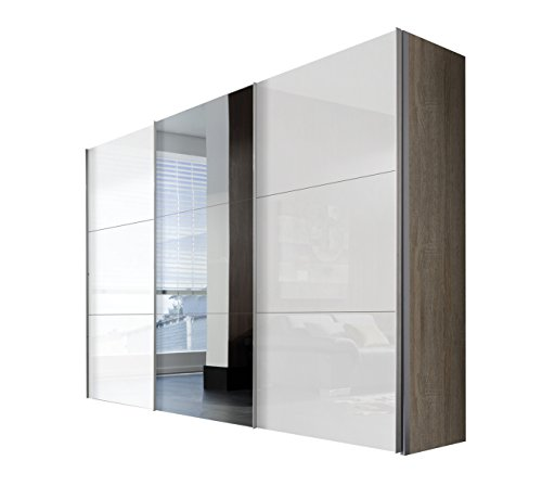 Express Möbel Schwebetürenschrank 300 cm breite mit Spiegel, 3-türig ,Weiß Lack, Eiche Sonoma Nachbildung, Art Nr. 46340-768