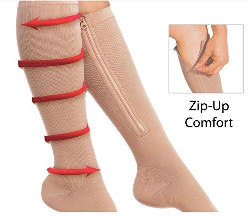 Reißverschluss Kompression Socken mit Reißverschluss Wadenbandage Socken für Herren Damen Schwarz/Beige (S ~ XL) (Paar), beige