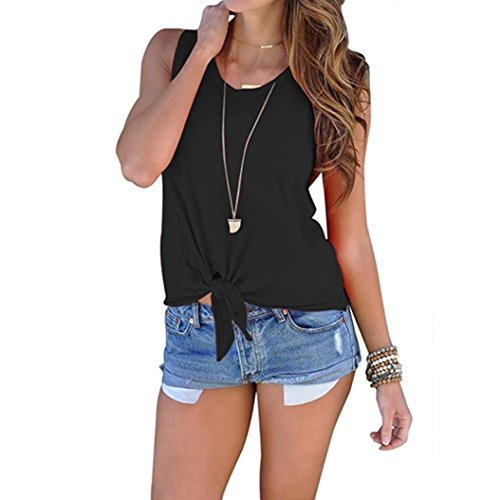 KaloryWee Summer Blouse Women Sleeveless Shirt Blouse Front Tie Knot Cami Tank Tops