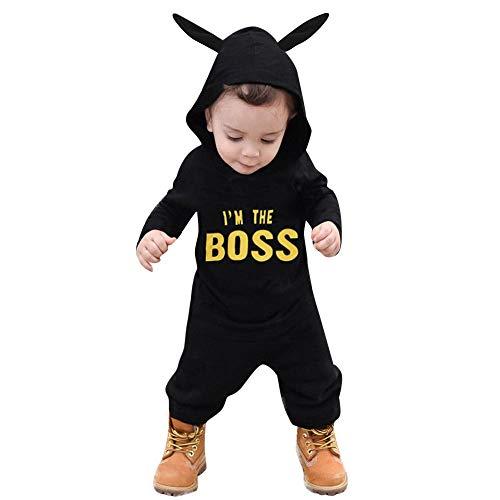 Kobay Kleinkind Kinder Baby Brief Jungen Mädchen Hoodie Outfits Kleidung Strampler Overall(18-24M,Schwarz-2) (Indischen Jungen Baby Kostüm)