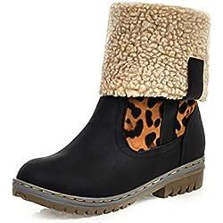 Botas Mujer Invierno Botas Nieve 2019 Planas Calentar Piel Forro Botines Sintético Cuero Mode Calzado Antideslizante Boots con Tacón 1.53in Negro Marrón Verde Leopardo EU35-43 Negro 39
