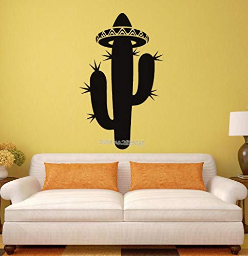 o Kaktus Sombrero Mexiko Lateinamerika Reise Vinyl Wandaufkleber Steuern Dekor Wohnzimmer Kunstwand 42 * 68 cm ()