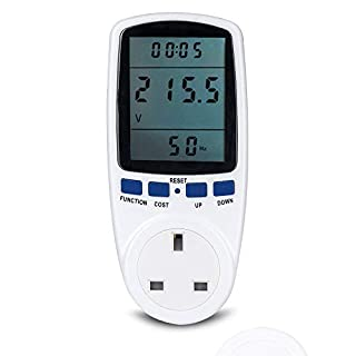 Senweit Plug-in Power Meter Electricity Energy Monitor UK Socket Power Consumption Meter Watt Voltage Amp KWH Analyzer Measurement
