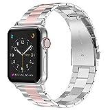 Wealizer für Apple Watch Armband Edelstahl 42mm Rosa Silber