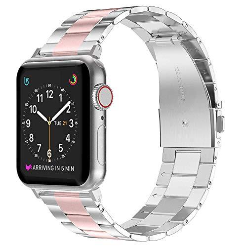 Wealizer für Apple Watch Armband Edelstahl 38mm Rosa Silber