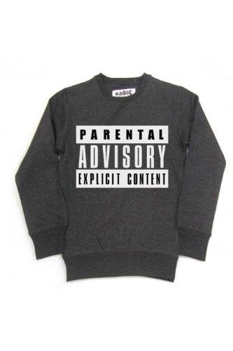 Magic custom - Sweat col rond parental advisory explicit content Noir