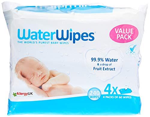 WaterWipes Toallitas para Pieles Sensible de Bebé,99.9{fe34148a7530f2574391c100f84639266160c5cf62c08efb6dcdc5a9774f17f4} Agua Purificada, 4 Paquetes de 60 Toallitas