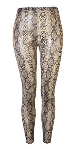 Love Lola Damen Leggings Beige Snake Skin Large/X-large Gr. Medium/Large, Beige - Snake Skin (Hose Snake Print)