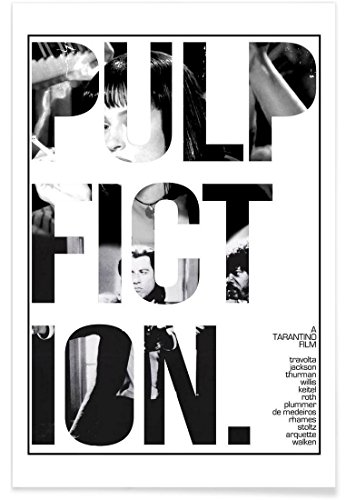 """JUNIQE® Affiche 40x60cm Noir & blanc Films - Design """"Pulp Fiction"""" (Format : Portrait) - Poster, Tirages d'art & Tableaux par des artistes indépendants - Posters de films, séries et TV - créé par MD POSTERS"""