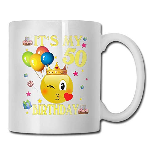 Daawqee Becher Coffee Mug It's My 50 Birthday Mug Funny Ceramic Cup for Coffee and Tea with Handle, White (Für Mittelstücke Ruhestand Den)