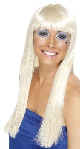 Blonde Queen Perücke 70er Jahre Kostüm Dancing - Blonde 70er Jahre Disco Langhaarperücke glatt Pony Dancing Queen Party Karneval Fasching