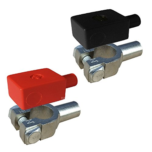 2 x Crimp Batterieklemmen 11mm & Positive Negative Abdeckungen für 35 - 50mm² Kabel
