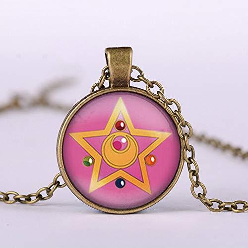 Mode Schöne Mädchen Krieger Fünf Spitz Stern Sailor Moon Halsketten & Anhänger Glaskuppel Lange Halskette