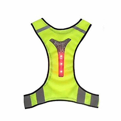 LED Licht reflektierende Sicherheitsweste Jacke für Nacht Sport Running Radfahren atmungsak (Gelb) (Größe Lauren Jeans Plus Ralph)