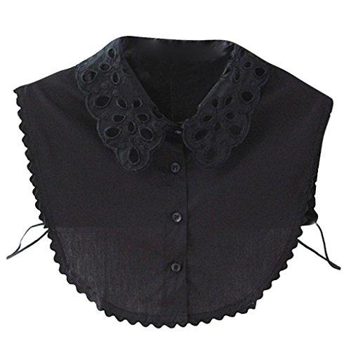 Kanpola Damen Kragen Bluse Top Elegant Abnehmbare Blusenkragen Shirtkragen Topkragen Weiß/Grau (Schwarz Z1) (Bluse Kragen)