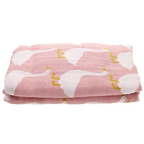 Baby Mädche Decke Zwei-Schichten Swaddle Wrap Bestes Geschenk für werdende Eltern - Rosa Schwan