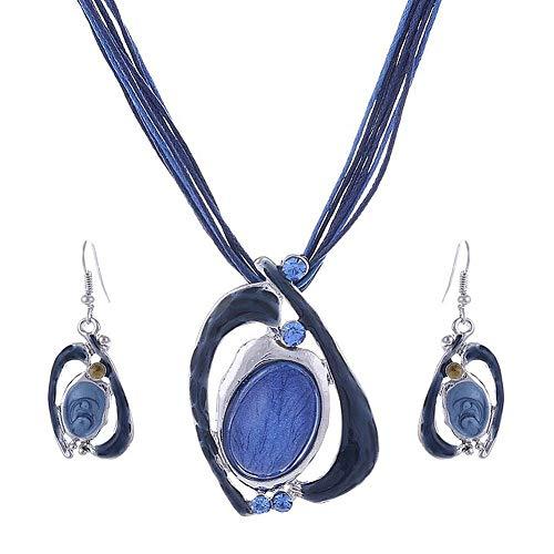 Unbekannt 3 Teiliges Damen Schmuck-Set Ohrringe + Kunst-Leder Kette Steine Strass Blau