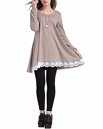 GIKING Women's Vintage Long Sleeve A-line Lace Tunic Loose T-Shirt Dress
