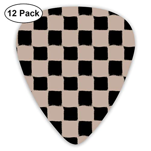 Big Checker Stroke Black On Nude Classic Celluloid Picks, 12-Pack, For Electric Guitar, Acoustic Guitar, Mandolin, And Bass