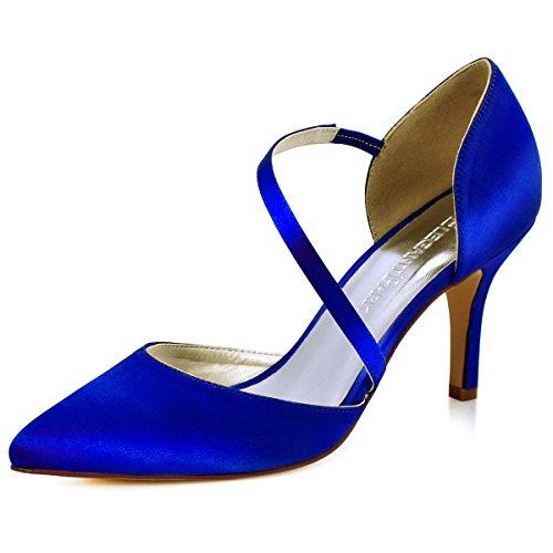 ElegantPark HC1711 D'Orsay Spitze Zehen High Heels Pumps Riemchen Abendschuhe Brautschuhe Blau Gr.36