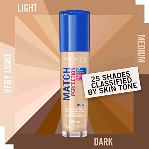 Rimmel London Match Perfection Liquid Foundation, Long-lasting Hydrating Formula with Smart-tone Technology and SPF 20 Formula, 100 Ivory, 30 ml