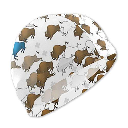 8d8e7d47 Swimming Cap, Swim Cap, Bathing Hat, Bison Buffalo Stampede Swimming Cap  for Kids Junior Swim Caps-Waterproof Long Hair Swim Hat Cover Ears ...
