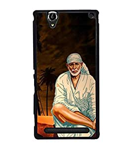 Fuson Premium 2D Back Case Cover Lord sai baba With Yellow Background Degined For Sony Xperia T2 Ultra::Sony Xperia T2 Ultra Dual