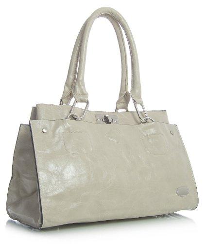 Big Handbag Shop Sac à main rectangulaire en imitation cuir porté épaule - Beige - Light Beige, One
