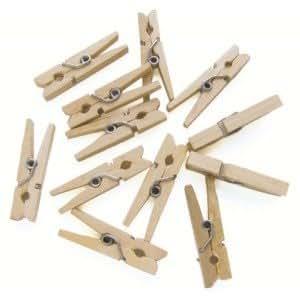 mini pinces linge bois d coratives x 24. Black Bedroom Furniture Sets. Home Design Ideas