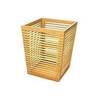 Woodquail Waste Paper Bin Trash Basket, Natural Bamboo