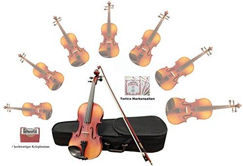 Sinfonie24 Geigen-/ Violinen-Set aus Hamburger Geigenbau Manufaktur (Plus II) inkl. Bogen, Koffer, Markensaiten (4/4)