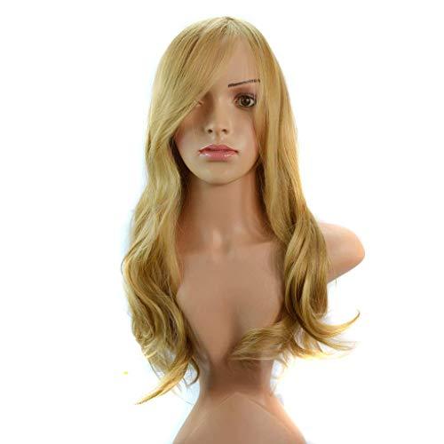 YNLRY -Perücke/Perücke Dame/Langes Lockiges Haar/Schräge Bangs/Gold/Wellenförmige ()
