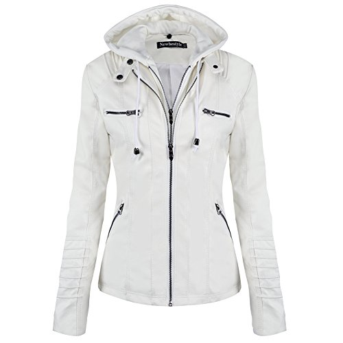 Newbestyle Jacke Damen Lederjacke Frauen mit Zip V Ausschnitt Kunstleder Bikerjacke Jacket Casual Übergangsjacke (Normale EU-Größe), Weiß, L/42 - Weiße Kapuze Lederjacke Mit
