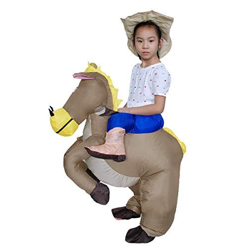 Adulti Bambini Dinosauro Gonfiabile Costume Cavallo e Cowboy Vestito Operato Gonfiabile Vestito Halloween Saltare in su Costumi, Taglia Unica Maggior Parte