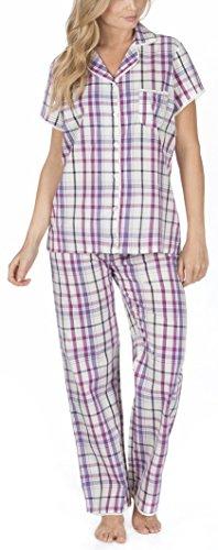 donna / donna intrecciato 100% cotone corto Pigiama / Set pigiama Purple Check Full Length