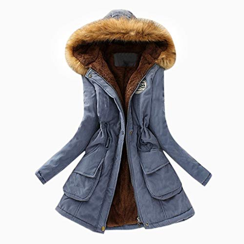 Kolila Damen Mantel Warmer Parka Kunstpelzkragen Kapuzenjacke Reißverschluss Tasche Winter Dicker Baumwolle Oberbekleidung